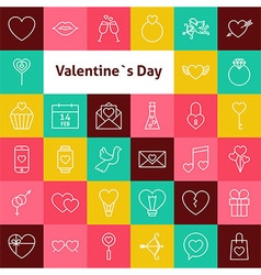 Line Art Valentine Day Icons Set vector image