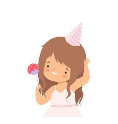 Little girl wearing birthday hat holding candy vector