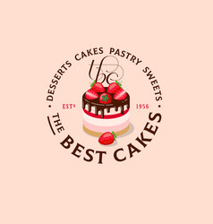 logo best cake strawberry chocolate bakery vector image