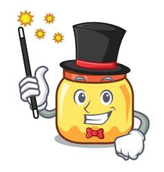 Magician cream jar mascot cartoon vector