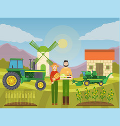 man and woman with harvest vector image