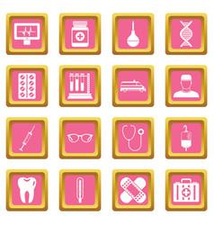 medicine icons pink vector image vector image