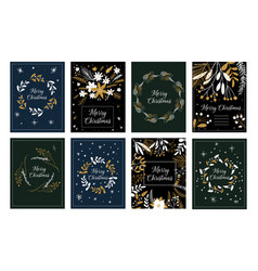 merry christmas and happy new year greeting cute vector image