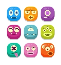 Monster Emoji Icons Set vector image