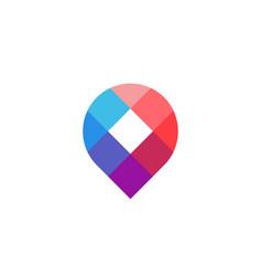 mosaic geotag or location pin logo icon design vector image