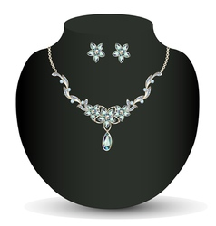 necklace and earrings womens wedding vector image vector image