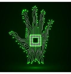 Neon hand Cpu Circuit board vector