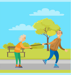 old people having fun in park man and woman vector image