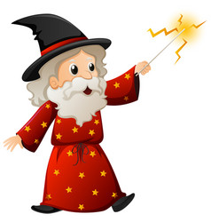old wizard with magic wand vector image