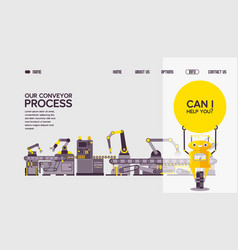 our conveyor technological process web banner vector image