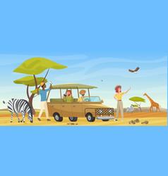 people in safari tour savanna wild landscape vector image