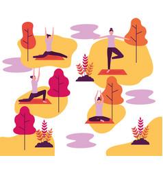 People yoga activity vector