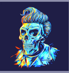 Pompadour skull head in dark background vector