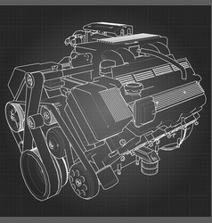 Powerful v8 car engine the engine is drawn with vector