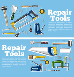Repair tools flyers in hand drawn style vector