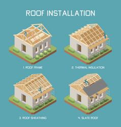 Roof installation isometric set vector