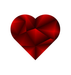 ruby heart on white background vector image