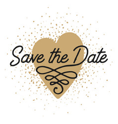 save date in heart shape invite card template vector image