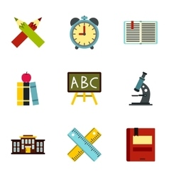 Schoolhouse icons set flat style vector