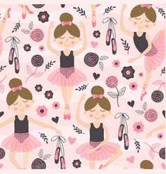 Seamless pattern pink with cute ballerina girl vector