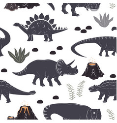 seamless pattern with cute different vector image