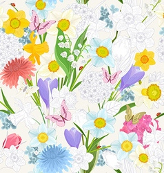 seamless texture with floral mix design vector image
