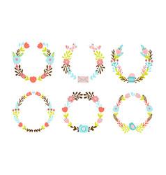 set cute decorative wreaths vector image