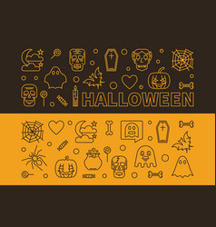 set of 2 halloween outline horizontal vector image