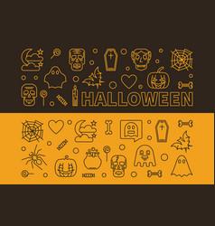 Set of 2 halloween outline horizontal vector