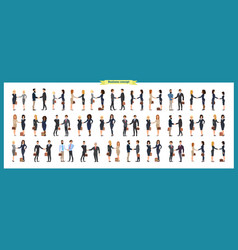 set of business people and handshaketeamwork vector image
