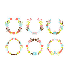 set of cute decorative wreaths vector image