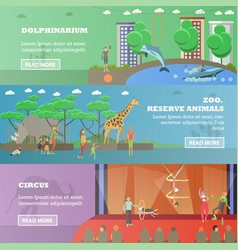 set of dolphinarium circus and zoo flat vector image