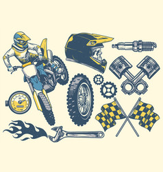 Set of motocross objects in retro hand drawing vector