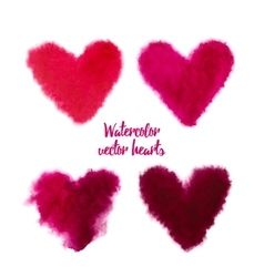 Set of pink watercolor hearts vector image vector image