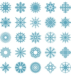 Set of winter snow flakes symbols vector