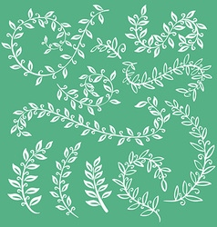 Set wreaths and laurel Hand painted green branches vector image