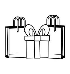 shopping bags and gift vector image