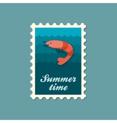 Shrimp stamp Prawn Summer Vacation vector image