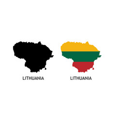 Silhouette lithuania on white color vector