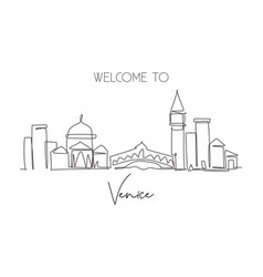 single continuous line drawing venice city vector image