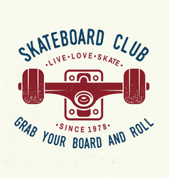 Skateboard club badge vector