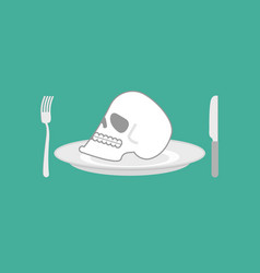 skull on plate head of skeleton on dish knife and vector image