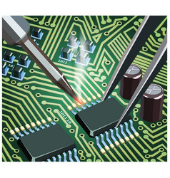 soldering computer chip on the board close up vector image
