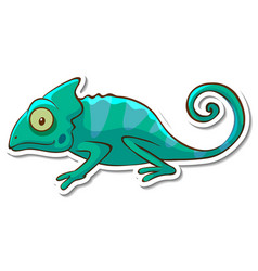 sticker design with chameleon lizard isolated vector image