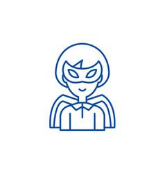 super hero line icon concept super hero flat vector image