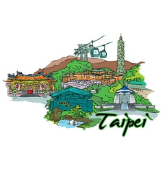 taipei doodles vector image