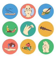 Thai massage isolated flat color icon set vector