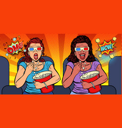 Two women with 3d glasses react differently to the vector