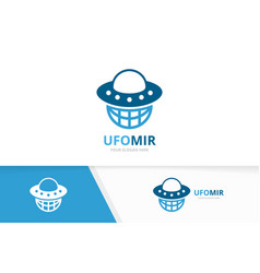 ufo and planet logo combination spaceship vector image
