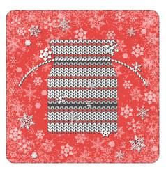 vintage card knitting gift bag snowflakes vector image